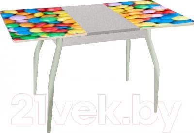 Обеденный стол Древпром Алиот 90x60 (металлик/конфеты/металлик) - в разложенном виде