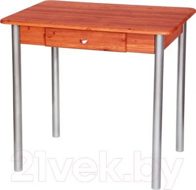 Обеденный стол Древпром С ящиком 80х60 (металлик/грондталь)