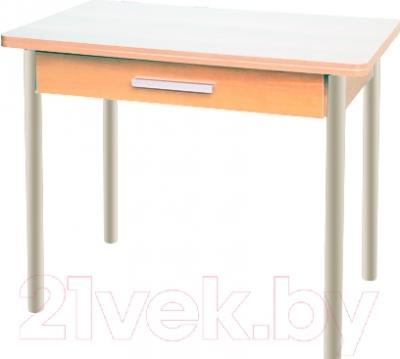 Обеденный стол Древпром М20 90x60 с ящиком (бежевый мрамор/дуб светлый)