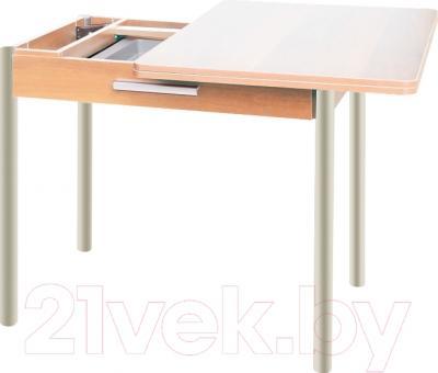 Обеденный стол Древпром М20 90x60 с ящиком (бежевый мрамор/дуб светлый) - в процессе раскладки