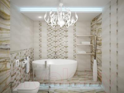Бордюр для ванной Уралкерамика Ринальди БД57РД004 (67x500, белый/коричневый)