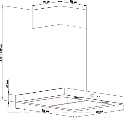 Вытяжка Т-образная Backer CH60E-TGL200 (нержавеющая сталь/черное стекло)