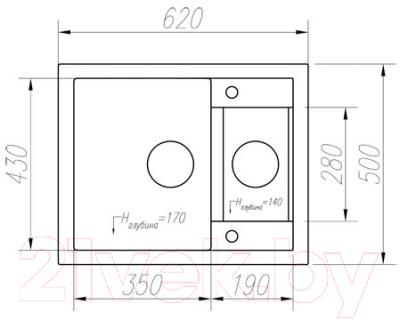 Мойка кухонная Tolero R-109 (серый)