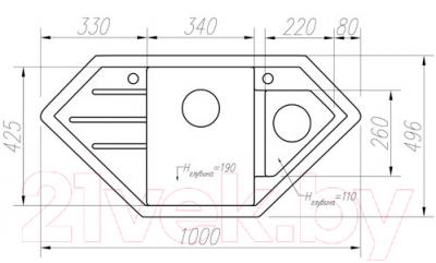 Мойка кухонная Tolero R-114 (бежевый)