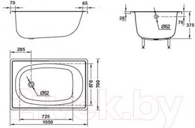 Ванна стальная BLB Europa 105x70 - схема