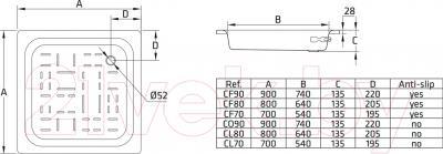 Душевой поддон BLB Universal 80x80 (рифленный)