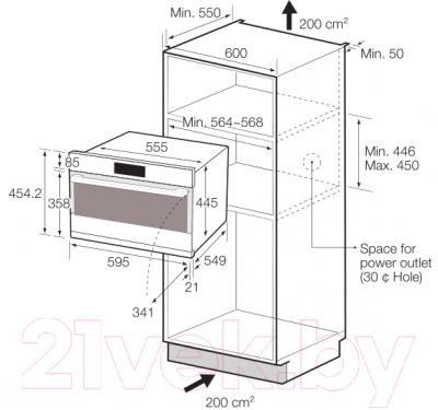 Электрический духовой шкаф Samsung NQ50H5537KB - схема встраивания