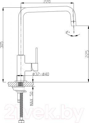 Смеситель Timo Saona 2306 F (белый матовый) - схема