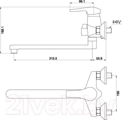 Смеситель Timo Classic 0045 Y-CR (хром) - схема