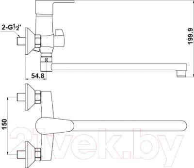 Смеситель Timo Supra 1415 Y-CR (хром) - схема