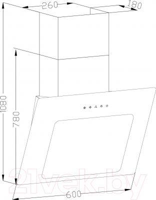 Вытяжка декоративная Backer AH60A-L6 (белое стекло)