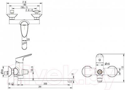 Смеситель Bravat Drop F64898C-L - схема