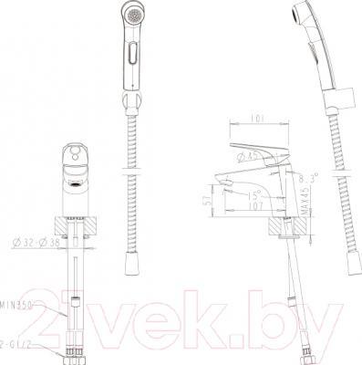 Смеситель Bravat Drop-D F148162C-1 - схема