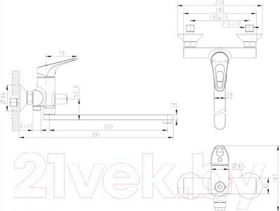 Смеситель Bravat Drop-D F648162C-01A - схема