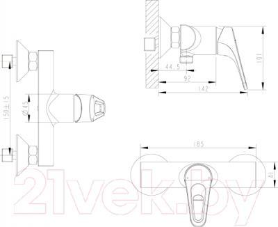 Смеситель Bravat Drop-D F948162C-01 - схема