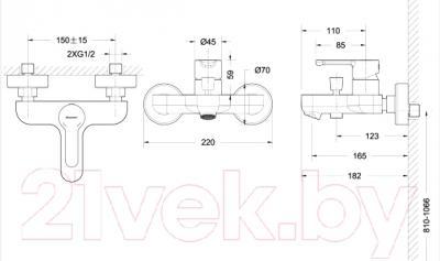 Смеситель Bravat Stream F63783C-01A - схема