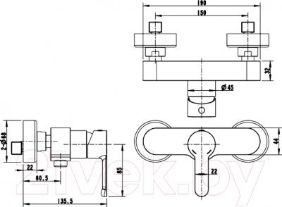 Смеситель Bravat Stream F93783C-01A - схема