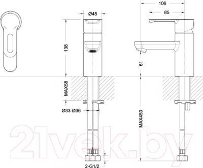 Смеситель Bravat Stream-D F137163C - схема