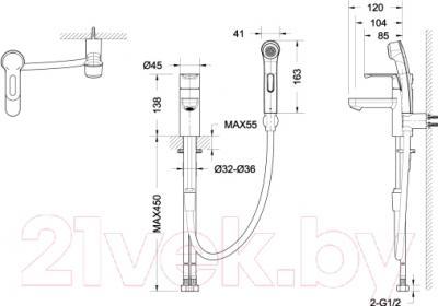 Смеситель Bravat Stream-D F137163C-1 - схема