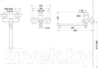 Смеситель Bravat Stream-D F637163C-01A - схема
