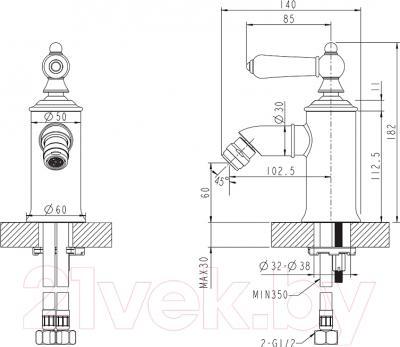 Смеситель Bravat Art F375109C G (золотой) - схема