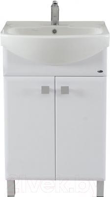 Тумба с умывальником Гамма Люкс 22 ОФ2 (белый с фрезеровкой)