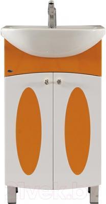 Тумба с умывальником Гамма 22 ОФ4 (оранжевые вставки)