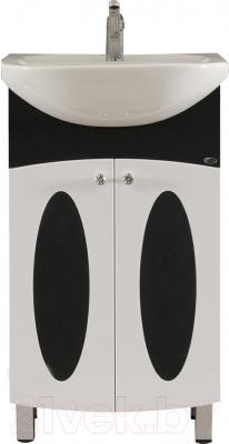 Тумба с умывальником Гамма 22 ОФ4 (черные вставки овал)