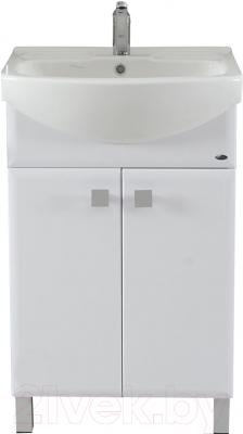Тумба с умывальником Гамма Н25 ОФ2 (белый с фрезеровкой)