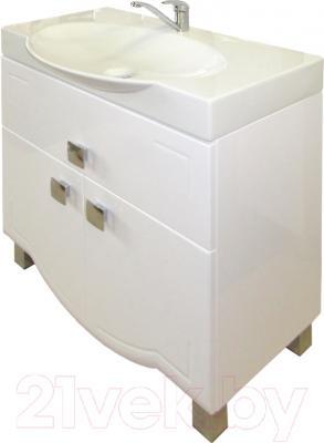 Тумба с умывальником Гамма Люкс У76 (белый с фрезеровкой, с ящиком)