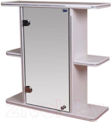 Шкаф с зеркалом для ванной Гамма 10 (белый, левый)