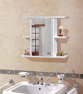 Шкаф с зеркалом для ванной Гамма 10 (белый, левый) - в интерьере