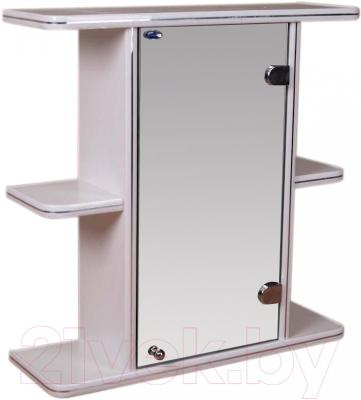 Шкаф с зеркалом для ванной Гамма 10 (белый, правый)