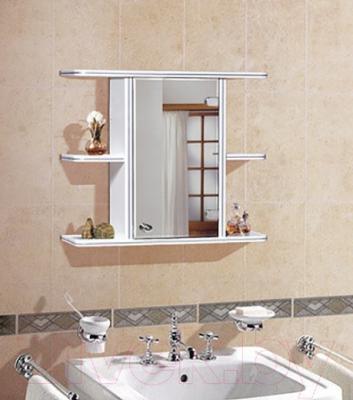 Шкаф с зеркалом для ванной Гамма 10 (белый, правый) - в интерьере