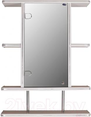 Шкаф с зеркалом для ванной Гамма 10/1 (белый, левый)