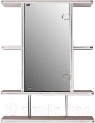 Шкаф с зеркалом для ванной Гамма 10/1 (белый, правый)