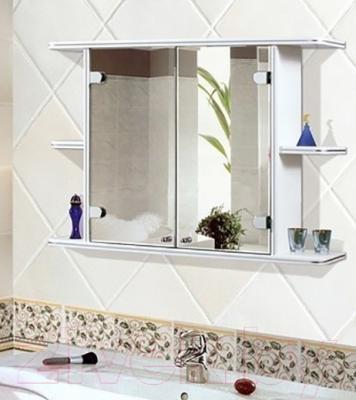 Шкаф с зеркалом для ванной Гамма 11 (белый) - в интерьере