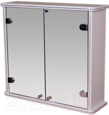 Шкаф с зеркалом для ванной Гамма 14 (белый)