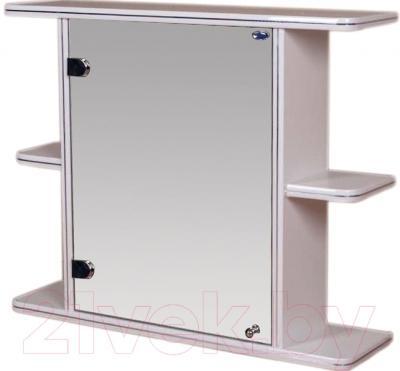 Шкаф с зеркалом для ванной Гамма 15 (белый, левый)