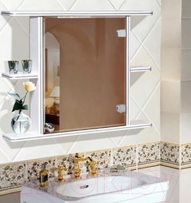 Шкаф с зеркалом для ванной Гамма 15 (белый, правый) - в интерьере