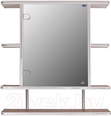 Шкаф с зеркалом для ванной Гамма 15/1 (белый, левый)