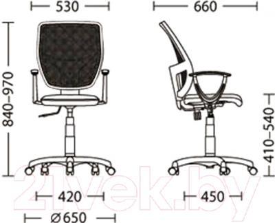 Кресло офисное Nowy Styl Betta (GTP OH/5, ZT-07) - размеры