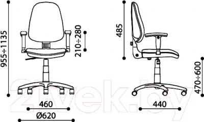 Кресло офисное Новый Стиль Galant GTR Chrome (Active-1, ZT-15) - размеры