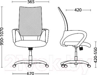 Кресло офисное Новый Стиль Network GTP Chrome (OH/5, LS-06) - размеры