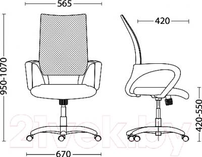 Кресло офисное Новый Стиль Network GTP Chrome (OH/5, LS-74) - размеры