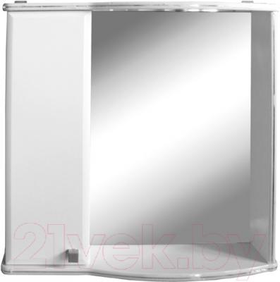 Шкаф с зеркалом для ванной Гамма 08т (белый с фрезеровкой, левый)