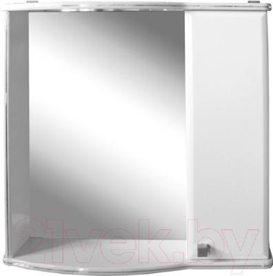 Шкаф с зеркалом для ванной Гамма 08т (белый с фрезеровкой, правый)