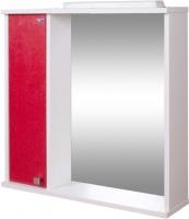 Шкаф с зеркалом для ванной Гамма 08т (красный металлик, левый) -