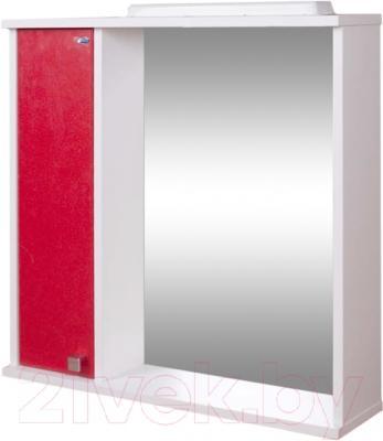Шкаф с зеркалом для ванной Гамма 08т (красный металлик, левый)