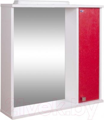 Шкаф с зеркалом для ванной Гамма 08т (красный металлик, правый)